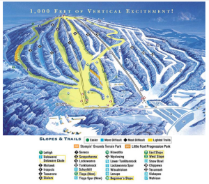 Trail map for Elk Mountain Ski Resort